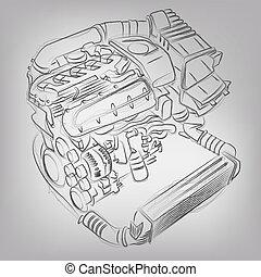 gép, elvont, vektor, ábra, sketched