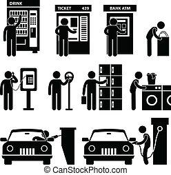 gép, használ, ember, közönség, autó