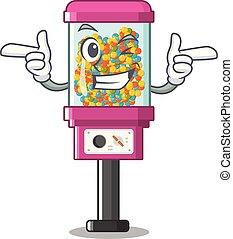 gép, hunyorít, árul, karikatúra, cukorka
