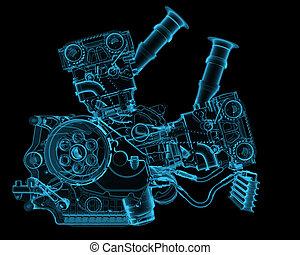 gép, kék, elszigetelt, fekete, áttetsző, röntgen