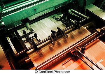 gép, nyomtatás, ellensúlyoz