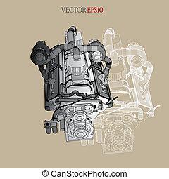 gép, skicc, vektor