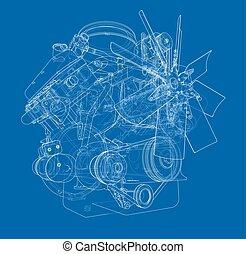 gép, vektor, sketch.