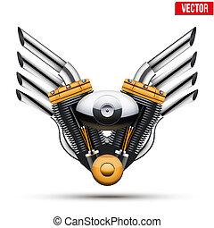 gép, wings., illustration., fém, vektor, motorkerékpár
