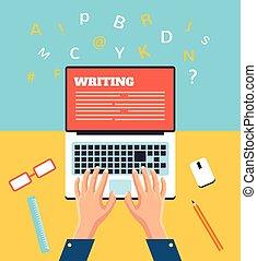gépelés, kéz, laptop