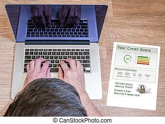 gépelés, laptop, jelent, ember, hitel