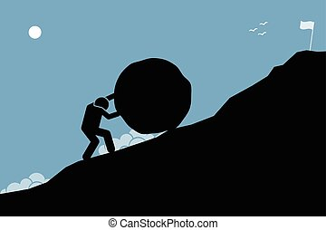 gól, nagy, rámenős, elér, feláll, top., hegy, kő, erős bábu