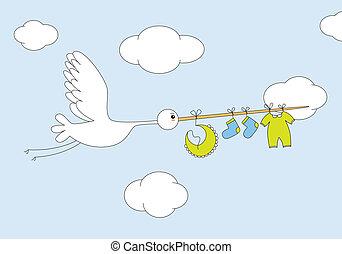gólya, csecsemő fiú, öltözék