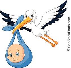 gólya, csecsemő, karikatúra, madár