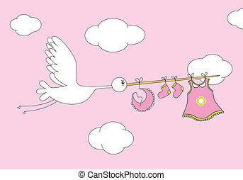 gólya, csecsemő lány, öltözék