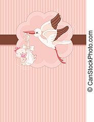 gólya, csecsemő lány, eszközöl kártya