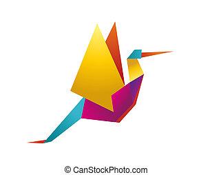 gólya, vibráló, befest, origami