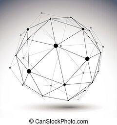 gömbölyű, di, szín, elvont, ábra, egyedülálló, vektor, vonalazott, 3