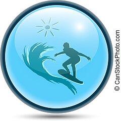 gömbölyű, víz, recreation., ikon
