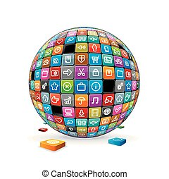 gömb, elvont, icons., alkalmazás, vektor, kép