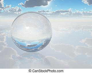 gömb, kristály, táj, szürrealista