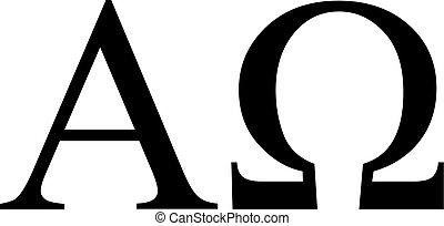 görög, alpha omega, aláír