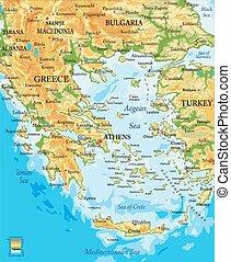 görögország, térkép, megkönnyebbülés