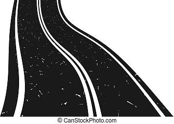 görbe, haladó, távolság., út, aszfalt