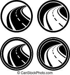 görbe, jelkép, fekete, aszfalt út