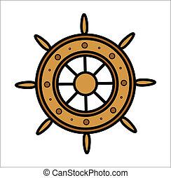 gördít, öreg, hajó, vektor, -
