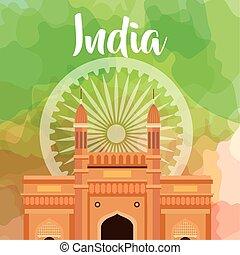 gördít, dekoráció, india, háttér, híres, boldog, szabadság emlékmű, nap, ashoka