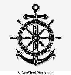 gördít, elszigetelt, háttér., anchor., hajó, fehér, ikon