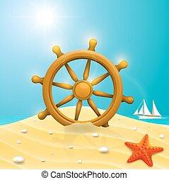 gördít, hajó, tengerpart