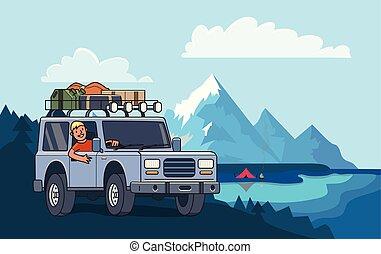 gördít, hegy csúcs, kempingezés, lakás, autó, terep-, poggyász, tető, parkosít., lake., suv, mögött, vektor, pasas, horizontal., jármű, mosolygós, style., illustration.