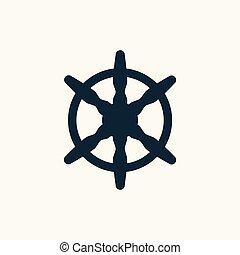 gördít, kormányzó, vektor, fekete, icon., hajó