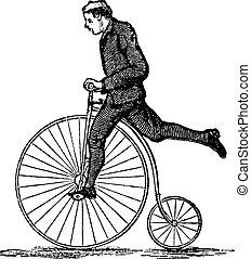 gördít, metszés, szüret, bicikli, magas, penny-farthing, vagy