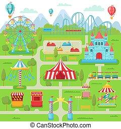 gördít, poháralátét, család, szórakozás, fesztivál, map., liget, ábra, ferris, vektor, szórakozás, vonzások, hajcsavaró, körhinta