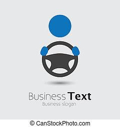 gördít, vagy, övé, cabbie, autó, ügy, hely, szöveg, graphic., jármű, sofőr, symbol-, kéz, vektor, ábra, birtok, autó, szlogen, ikon, kormányzó, látszik