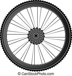 gördít, vektor, -, ábra, bicikli, fehér