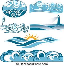 gördülő, kék, óceánok