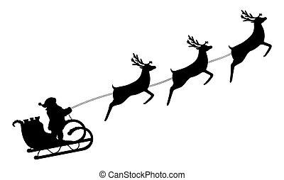 gördülni, klaus, szent, rénszarvas, hám, sleigh