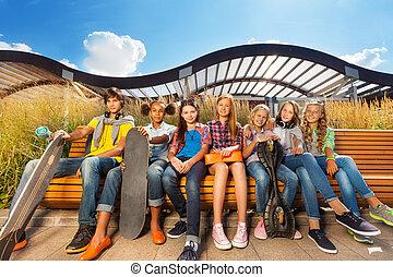 gördeszka, együtt, bírói szék, befolyás, gyerekek, evez