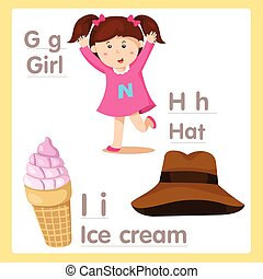 g betű, abc, illusztrátor, h