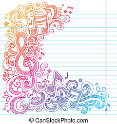 g betű, hangjegy, sketchy, zene, doodles, hangjegykulcs