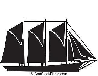 gaff, kétárbocos hajó, három, árboc