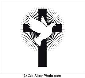 galamb, jelkép, peace., repülés, vector., cross., templom, spirit., jámbor, logo., religion.