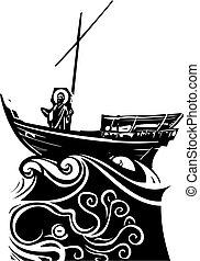 galilee, csónakázik, krisztus