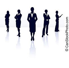 gallery., üzletasszony, körvonal, team., vektor, az enyém, több