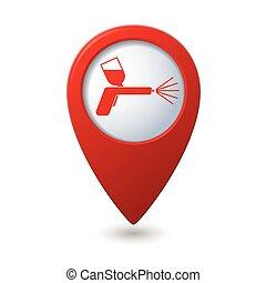 gally, mutató, ikon, pisztoly, térkép