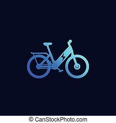 galvanizál, bicikli, ikon, bicikli, vektor, elektromos, ebike