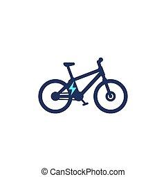 galvanizál, ebike, vektor, ikon, elektromos, bicikli, bicikli