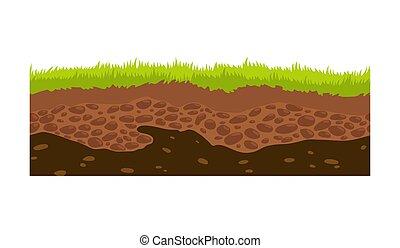 games., föld, illustration., vidék, ui, seamless, megkövez, vektor, felszín, kép, fű, talaj