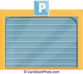 garázs, karikatúra, ikon, várakozás, mód, fizetve