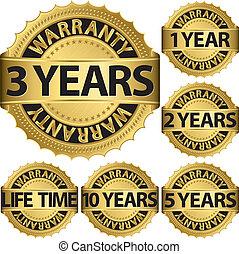 garancia, arany-, állhatatos, vektor, címke