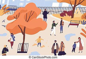 garden., költ, közönség, lakás, szórakozási, városi, bukás, vektor, férfiak, elfoglaltság, park., karikatúra, nők, place., ősz, emberek, idő, gyerekek, ábra, gyalogló, város